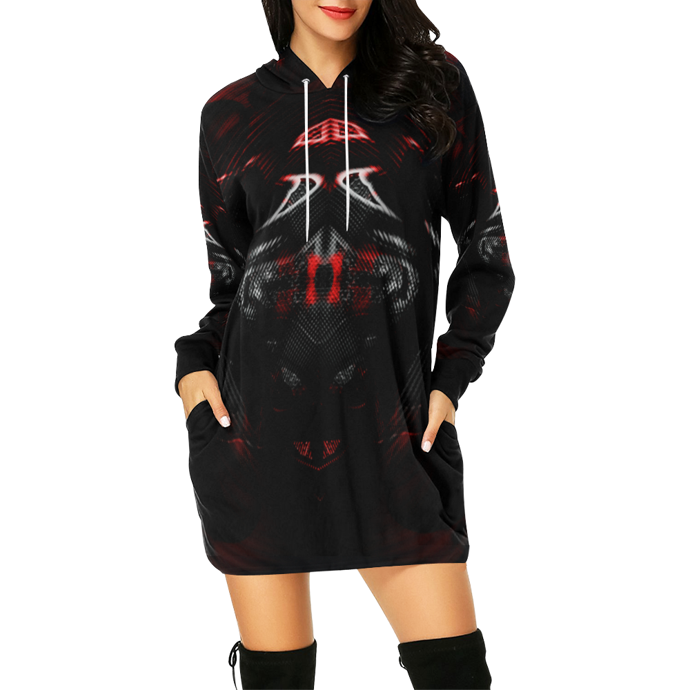 5000DUBLE 7 All Over Print Hoodie Mini Dress (Model H27)