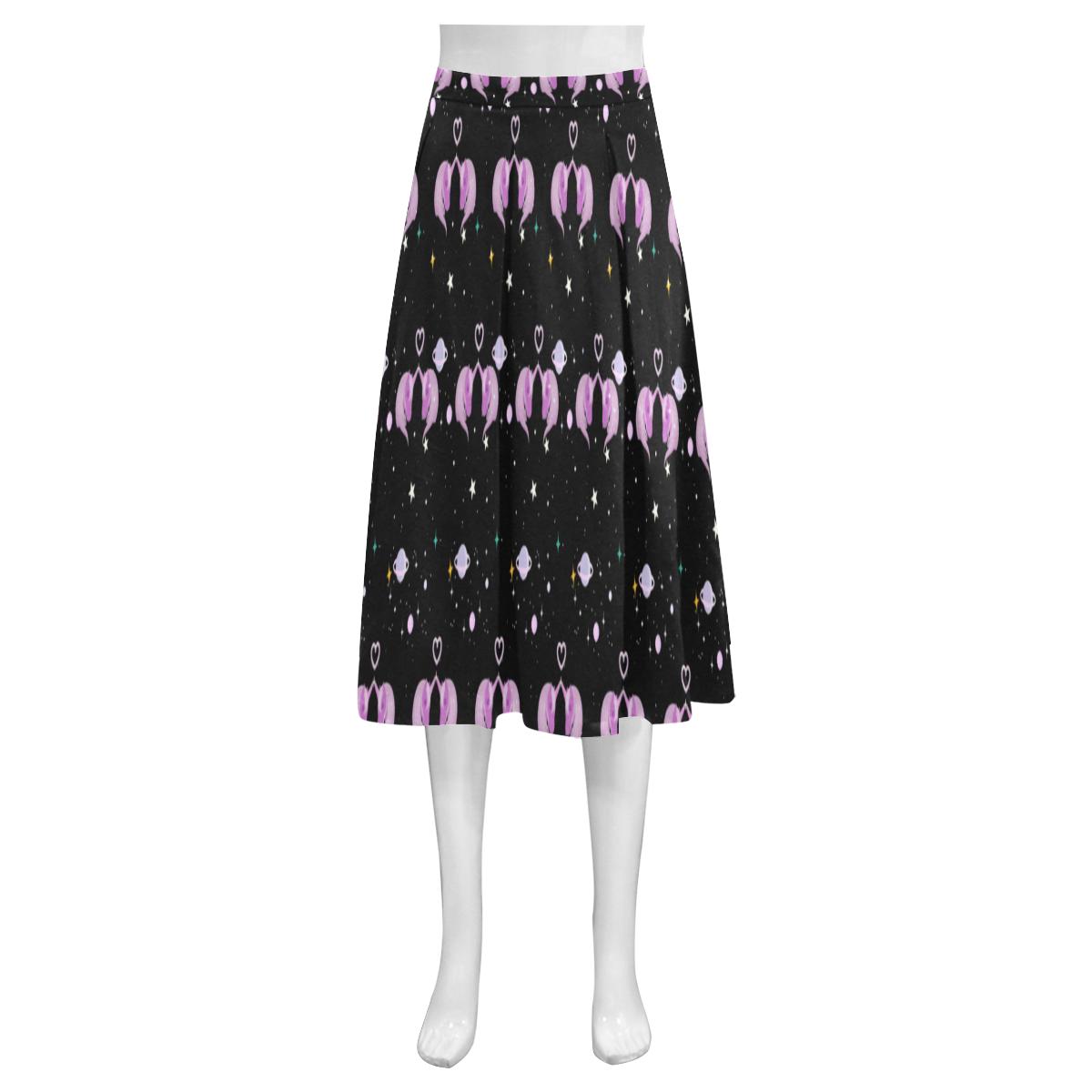 galaxy unicorn Mnemosyne Women's Crepe Skirt (Model D16)
