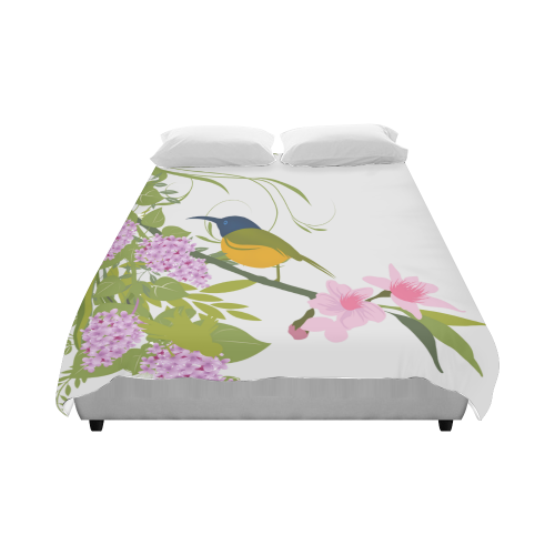 """Long Beaked Bird in Flowers Duvet Cover 86""""x70"""" ( All-over-print)"""
