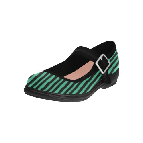 Stripes Green Black Virgo Instep Deep Mouth Shoes