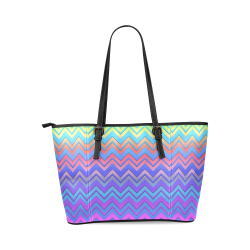 Chevron Love Leather Tote Bag/Large (Model 1640)