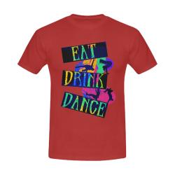 Break Dancing Colorful on Red Men's Slim Fit T-shirt (Model T13)