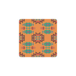 Misc shapes on an orange background Square Coaster