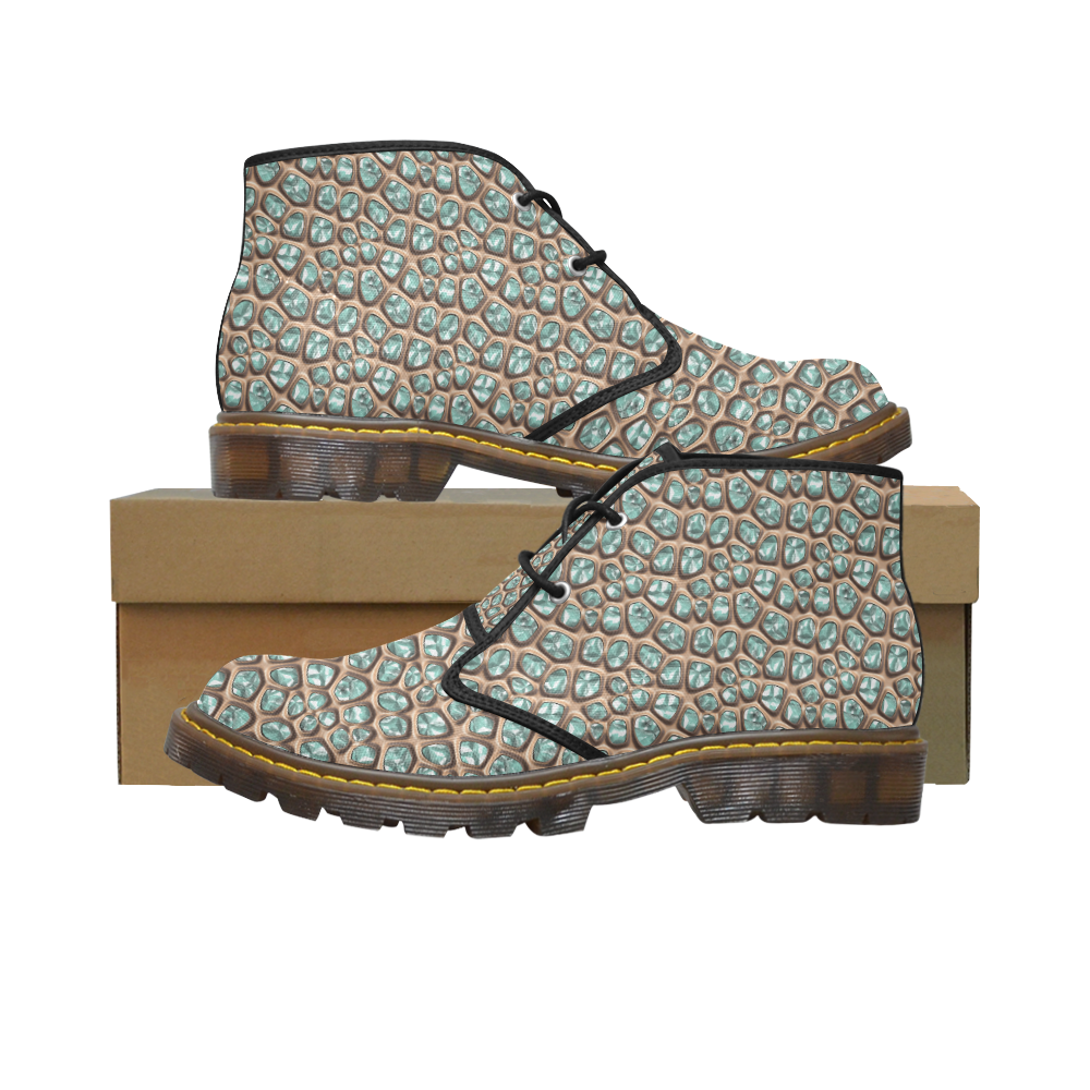 Green crystals Men's Canvas Chukka Boots (Model 2402-1)