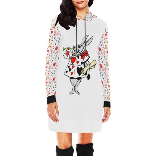 Alice All Over Print Hoodie Mini Dress (Model H27)