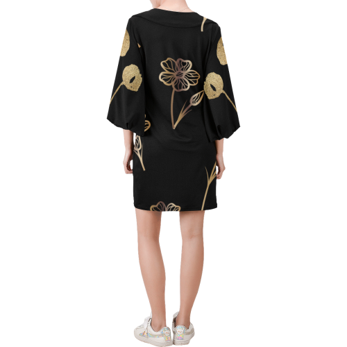 Floral Gold Bell Sleeve Dress Bell Sleeve Dress (Model D52)