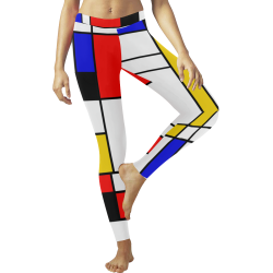 Bauhouse Composition Mondrian Style All Over Print Legging