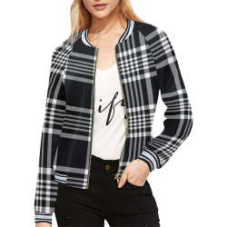 stripe bw All Over Print Bomber Jacket for Women (Model H21)