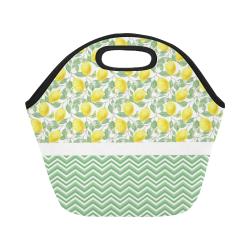Lemons With Chevron Neoprene Lunch Bag/Small (Model 1669)