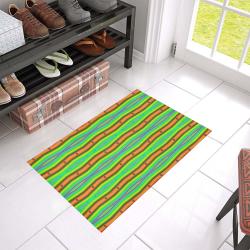 "Bright Green Orange Stripes Pattern Abstract Azalea Doormat 24"" x 16"" (Sponge Material)"