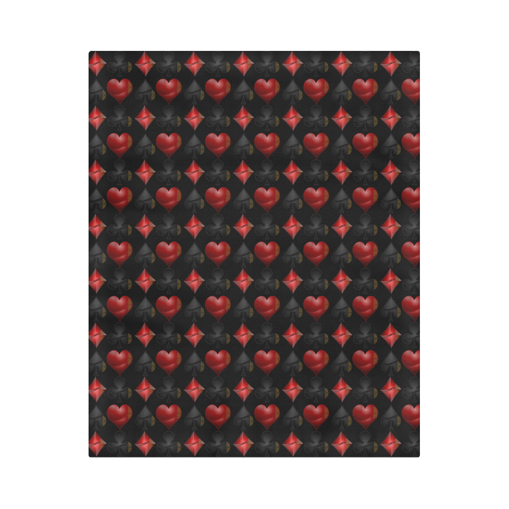 """Las Vegas Black and Red Casino Poker Card Shapes on Black Duvet Cover 86""""x70"""" ( All-over-print)"""