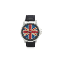 UK Flag Unisex Stainless Steel Leather Strap Watch(Model 202)