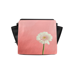 Gerbera Daisy - White Flower on Coral Pink Satchel Bag (Model 1635)