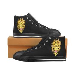 Gold Metallic Lion Black Men's Classic High Top Canvas Shoes /Large Size (Model 017)