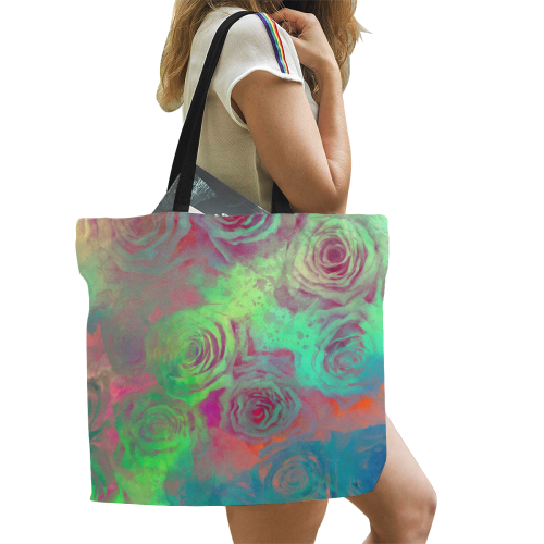 flowers #flowers #pattern All Over Print Canvas Tote Bag/Large (Model 1699)
