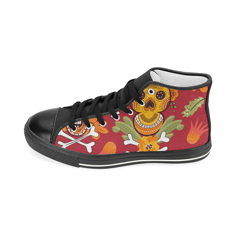 Sugar Skull 1 Women's Classic High Top Canvas Shoes (Model 017)