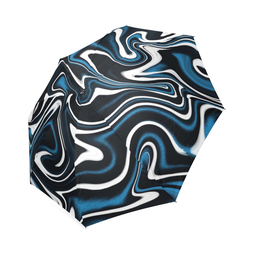 Blue, Black and White Estonia Swirls 4044 Foldable Umbrella (Model U01)