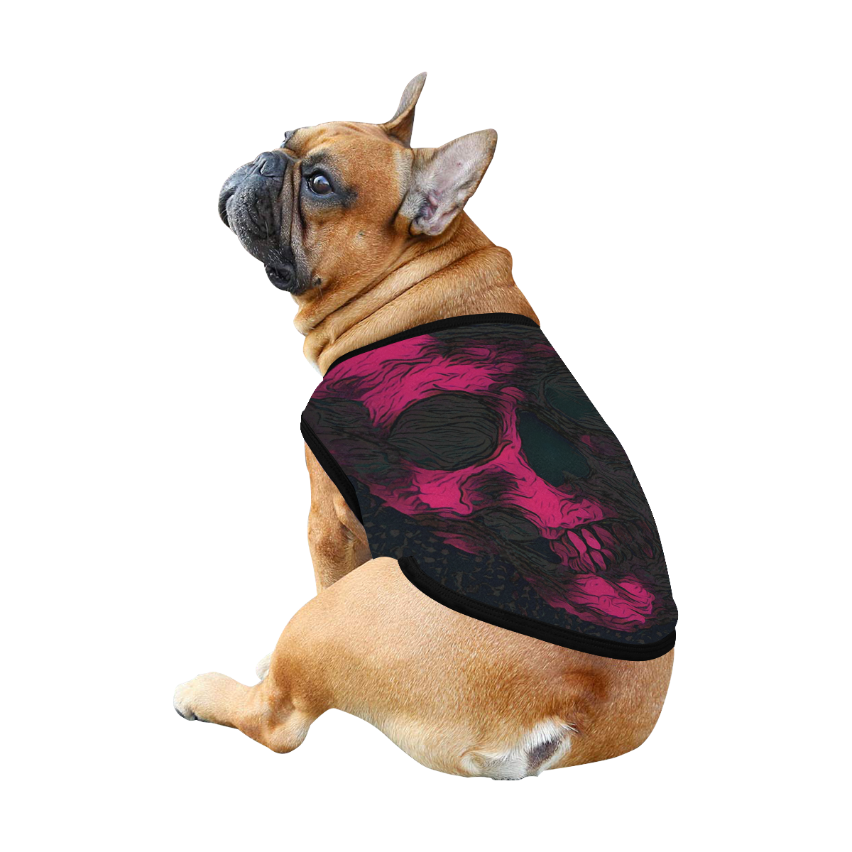 SKULL ART PINK BLACK All Over Print Pet Tank Top