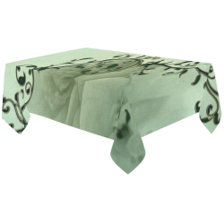 "Wonderful flowers, soft green colors Cotton Linen Tablecloth 60""x120"""