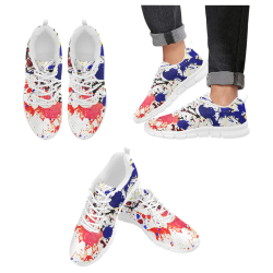 Blue & Red Paint Splatter - White Men's Breathable Running Shoes (Model 055)