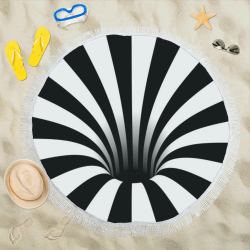 "Optical Illusion Stripes Black Hole (Black/White) Circular Beach Shawl 59""x 59"""