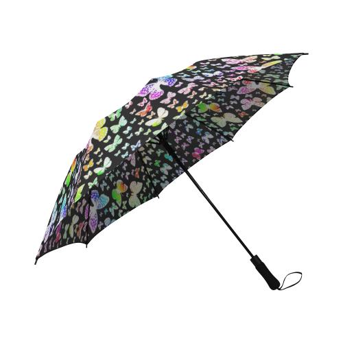 Rainbow Butteflies Semi-Automatic Foldable Umbrella (Model U05)