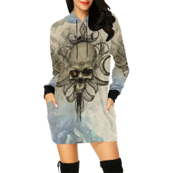 Creepy skull, vintage background All Over Print Hoodie Mini Dress (Model H27)