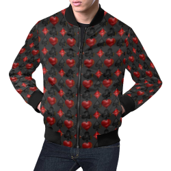 Las Vegas Black and Red Casino Poker Card Shapes on Charcoal All Over Print Bomber Jacket for Men (Model H19)
