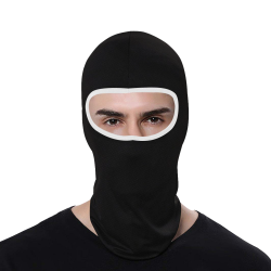 Black with White All Over Print Balaclava
