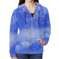 Blue Clouds All Over Print Full Zip Hoodie for Women (Model H14)