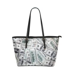 Cash Money / Hundred Dollar Bills Leather Tote Bag/Large (Model 1651)