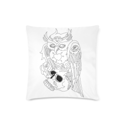 "Color Me Sugar Skull Owl Custom Zippered Pillow Case 16""x16"" (one side)"