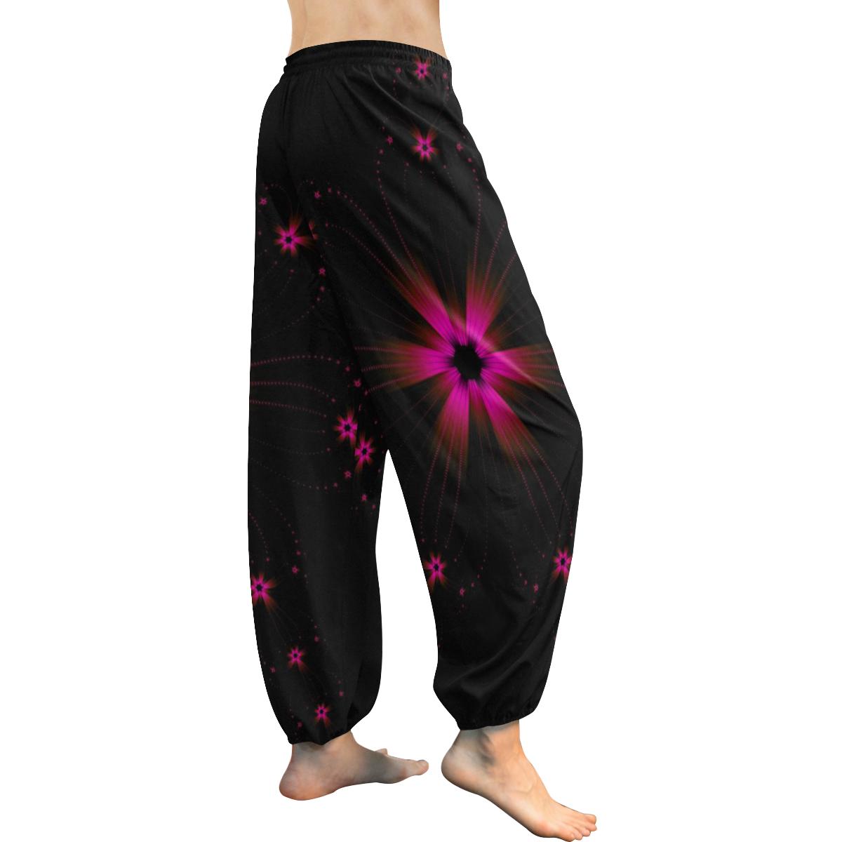 Fuchsia Flower Burst Women's All Over Print Harem Pants (Model L18)