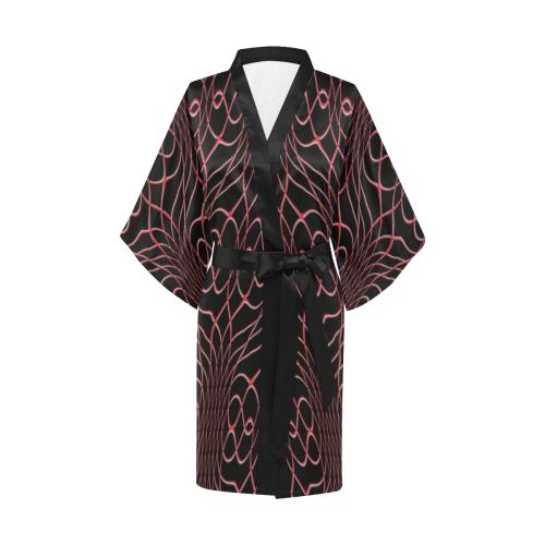 Black Red Pineapple Twist Kimono Robe