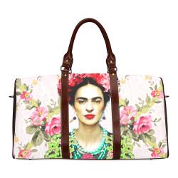 Frida Kahlo In The Rose Trellis Waterproof Travel Bag/Small (Model 1639)