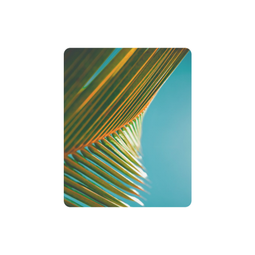 Plant leaves in orange and green, blue skies photo Rectangle Mousepad
