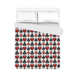 """Las Vegas Black and Red Casino Poker Card Shapes Duvet Cover 86""""x70"""" ( All-over-print)"""