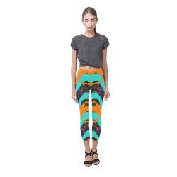 Blue orange black waves Capri Legging (Model L02)