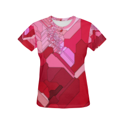 Red Abstract from a Geranium All Over Print T-Shirt for Women (USA Size) (Model T40)