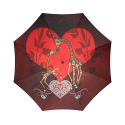 Giraffe mum with baby Foldable Umbrella (Model U01)