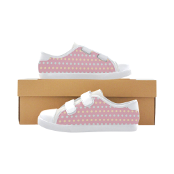 Colorful Dots On Pink Velcro Canvas Kid's Shoes (Model 008)