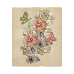 """Leather craft flowers Cotton Linen Wall Tapestry 51""""x 60"""""""