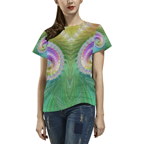 Frax Fractal Rainbow All Over Print T-Shirt for Women (USA Size) (Model T40)