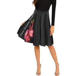 Pink Gladiolus #LoveDreamInspireCo Melete Pleated Midi Skirt (Model D15)