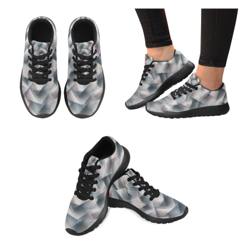 Metallic Petals by Jera Nour Women's Running Shoes/Large Size (Model 020)