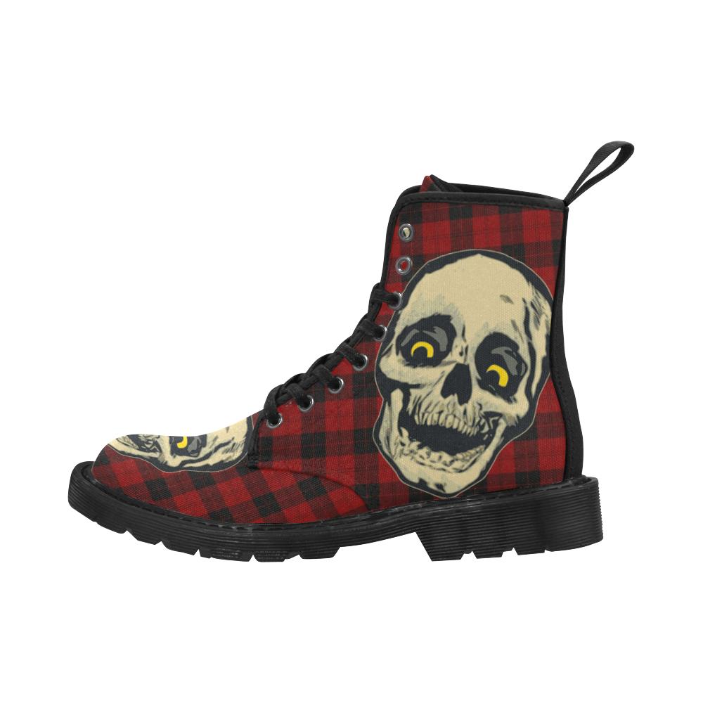Women's Red Tartan Skull Boots Martin Boots for Women (Black) (Model 1203H)