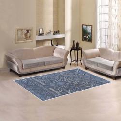 Ayumi Vintage Blue, Gray, Silver Floral Area Rug 5'x3'3''