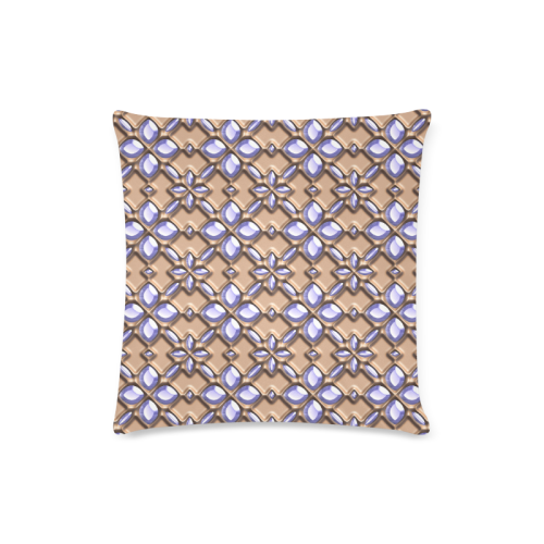 """Blue glass pattern in brown background. Custom Zippered Pillow Case 16""""x16""""(Twin Sides)"""