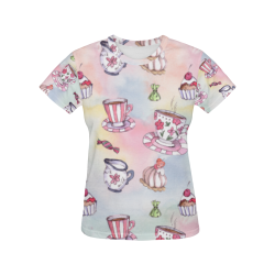 Coffee and sweeets All Over Print T-Shirt for Women (USA Size) (Model T40)