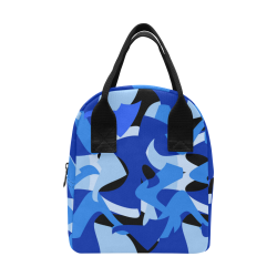 Camouflage Abstract Blue and Black Zipper Lunch Bag (Model 1689)